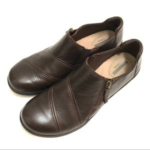 Clarks Cheyn Clay Brown Leather Zip Up Loafers
